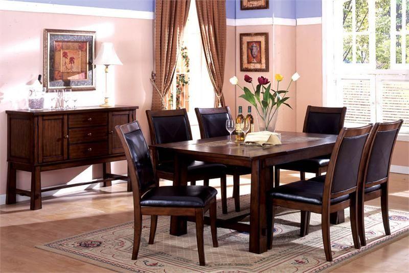living stone tobacco oak wood table set w marble insert