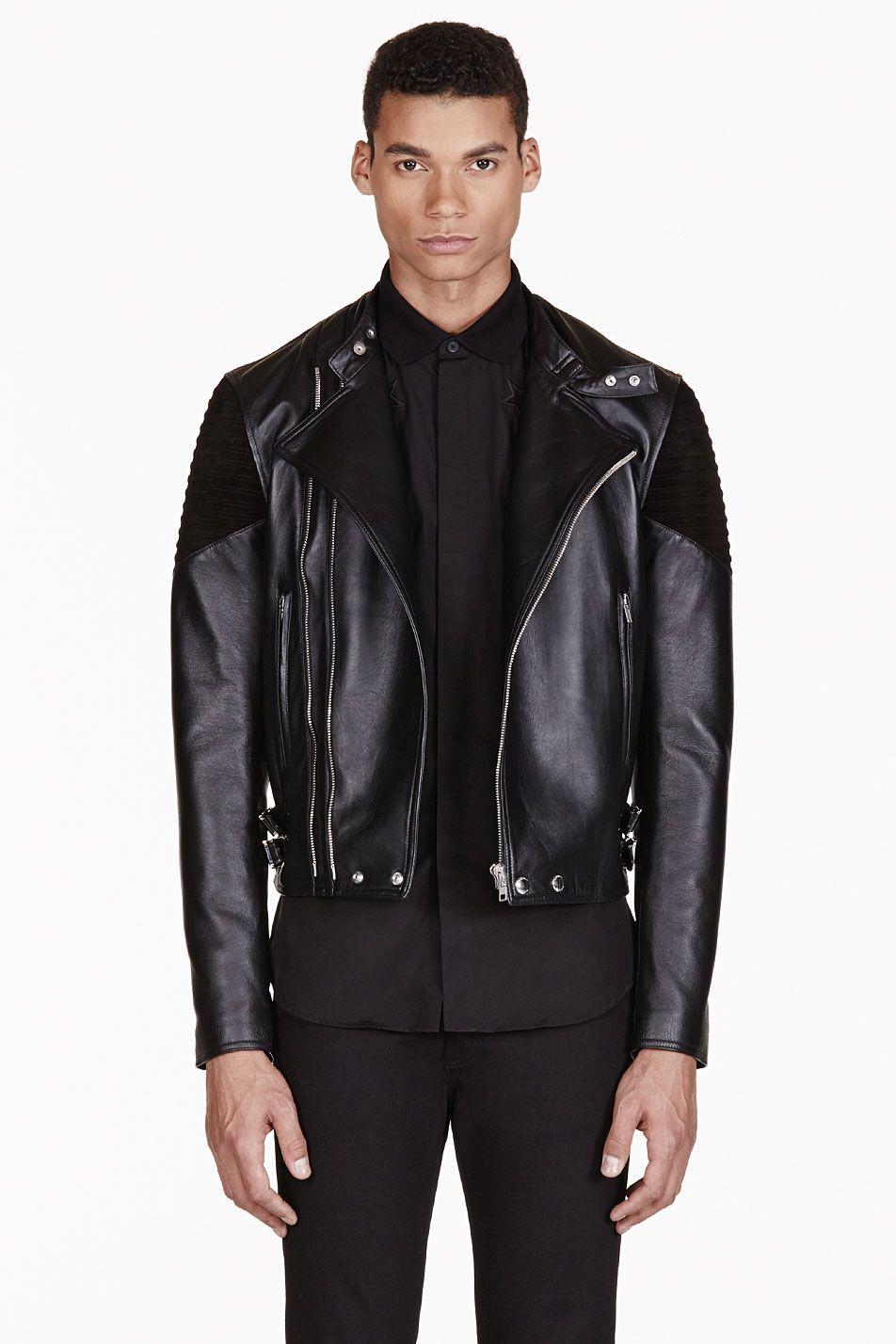 Givenchy Black Ribbed Leather Biker Jacket [ 1428 x 952 Pixel ]