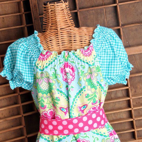 Girls Short Sleeve Peasant Dress with Large Ruffle on Bottom. $35.00, via Etsy.