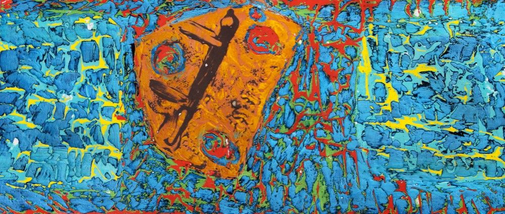 PAUL WESTAWAY, Portheras Wreckage I, Distressed abstract experiment, ACRYLIC Painting ON IRREGULAR BOARD Size C via Paul Westaway Outsider Artist. Click on the image to see more!