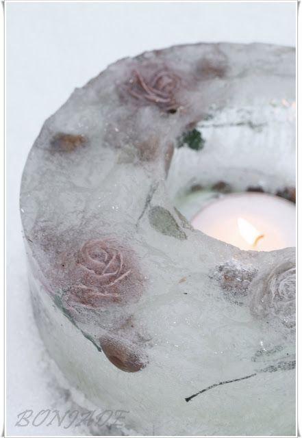 Christmas: Girly, pastel and pink /karen cox Ice and roses luminary - beautiful!