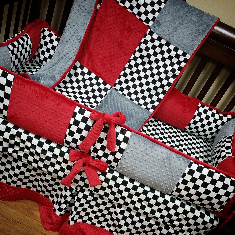 Baby Boy Crib Bedding Checker Baby Bedding Checkered Flag Etsy Baby Boy Crib Bedding Baby Boy Cribs Checkered Nursery