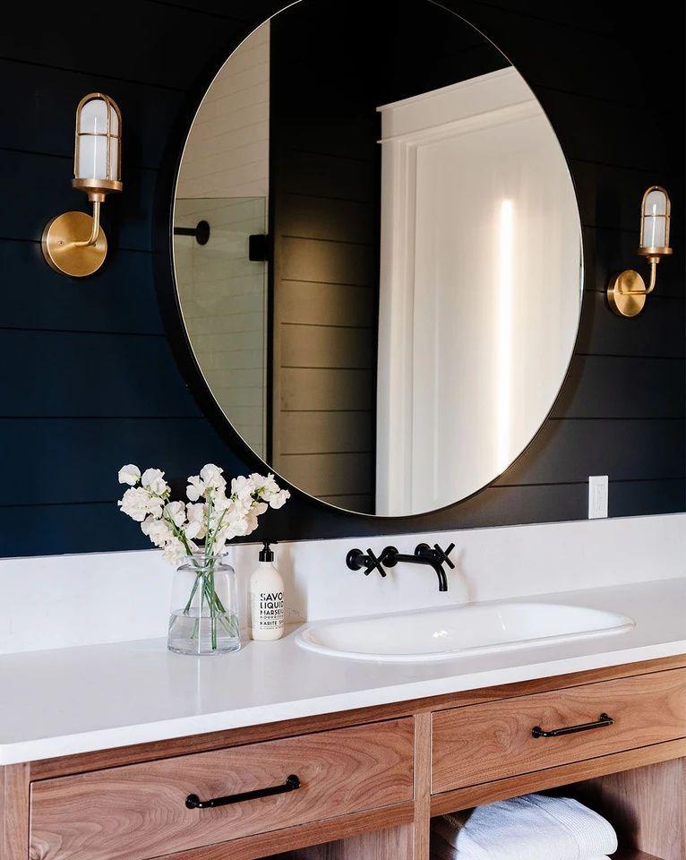 Faye Mirror In 2021 Bathroom Accent Wall Lake House Bathroom Blue Powder Rooms