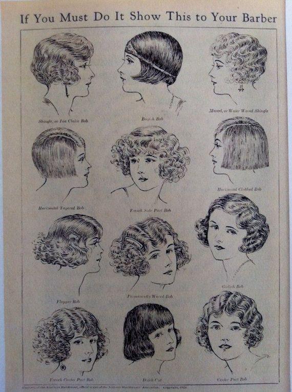 1920s Vintage Illustration Bobbed Hair Styles 1920s Hair