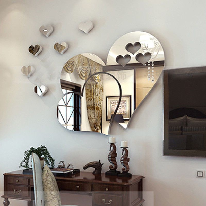 DIY 3D Mirror Love Hearts Wall Sticker Removable Decal Home Room Art Mural Decor