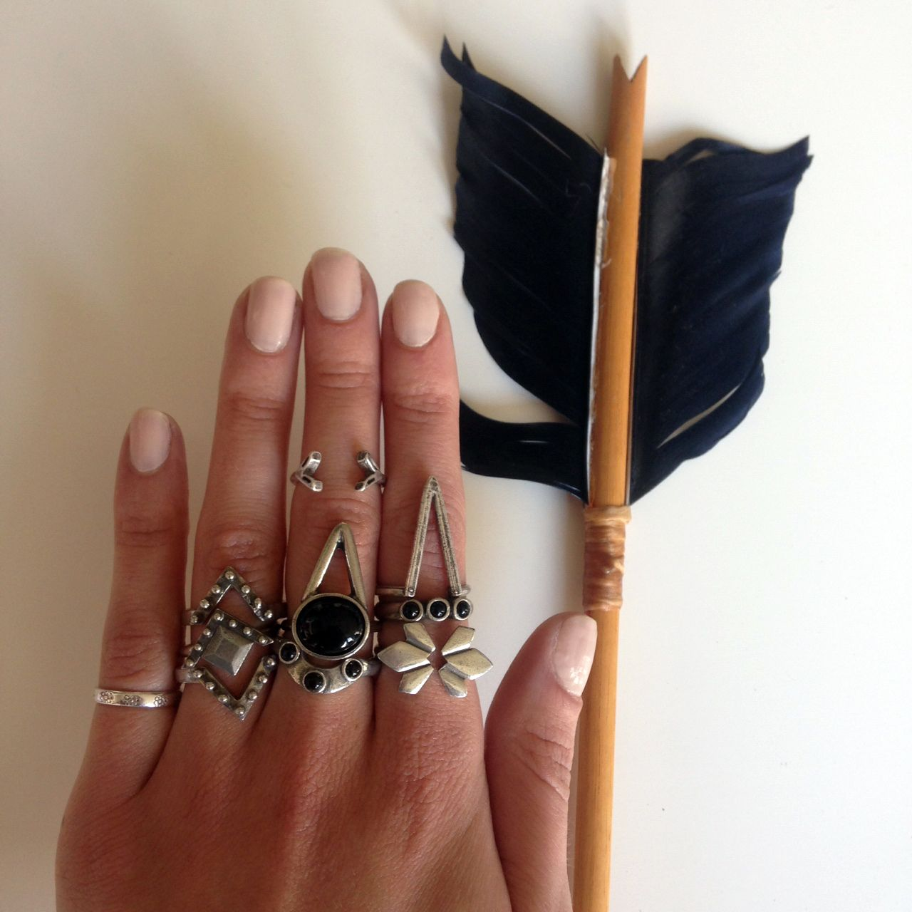 Ring Sets in black onyx/silver. We love #banditstackingsets! #the2bandits