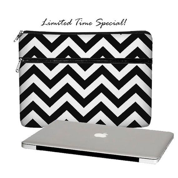 SUPER SALE MacBook Case, 13 MacBook Pro Case, 13 MacBook Air Case, MacBook Pro Retina 13 inch laptop sleeve, zipper pocket, chevron black