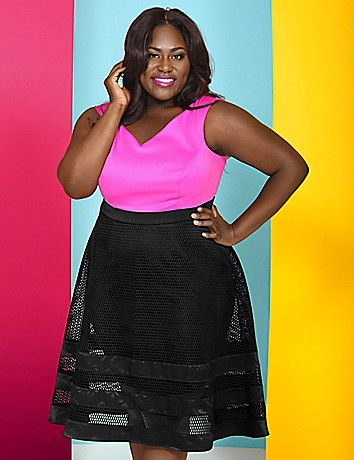 The oversized mesh on this Christian Siriano dress might just be our new favorite detail. Back zip. Silicone at neckline helps keep it from slipping. Lined from waist to knee or just above.  lanebryant.com