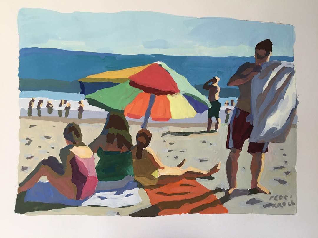 The Beach. Peggi Kroll Roberts #painting #sunlighteffect #figure #umbrellas Laguna Beach California