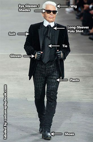 433e7253eab Costume Guide - Dress up in fashion designer Karl Lagerfeld s trademark  outfit