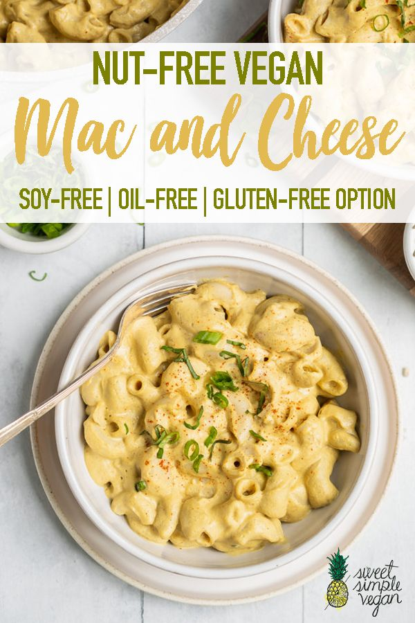 An allergen-friendly vegan mac and cheese recipe that is creamy, cheesy, and pretty darn healthy, too! This nut-free vegan mac and cheese is easy to make and requires just a few simple ingredients that you may already have on hand! #nutfree #allergenfriendly #kids #school #cashewfree #sunflowerseeds #vegan #dairyfree #easy #creamy #entree #lunch #dinner #noodles #macaroni #macandcheese #sweetsimplevegan #vegetarian