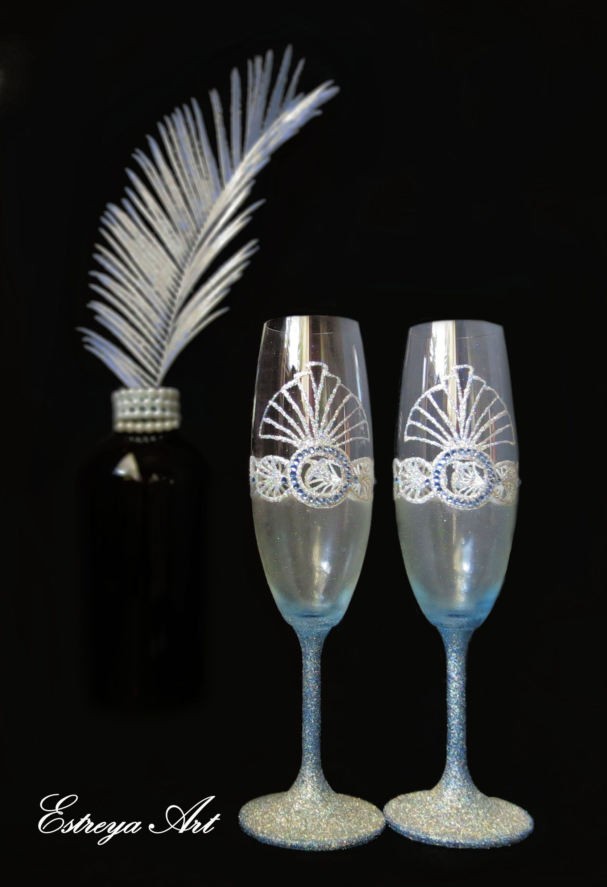 Personalized with initial letters wedding flutes, art deco, gatsby, 1920s, blue wedding, toasting glasses, gift couple, christmas, set of 2
