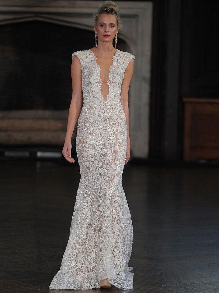 Berta sheath wedding gown with lace | itakeyou.co.uk #wedding #weddingfashion #bridal #weddingdress #weddinggown #bridalgown #weddingdresses #weddinggowns #berta #bridalinspiration #weddinginspiration #engaged