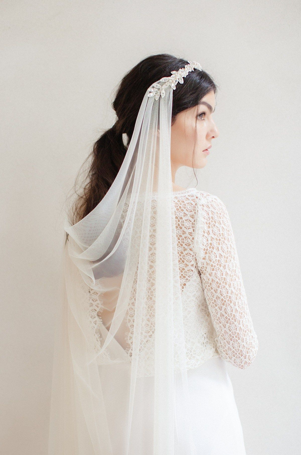 Wedding veil, draped veil, drape veil, cathedral veil, crystal ...