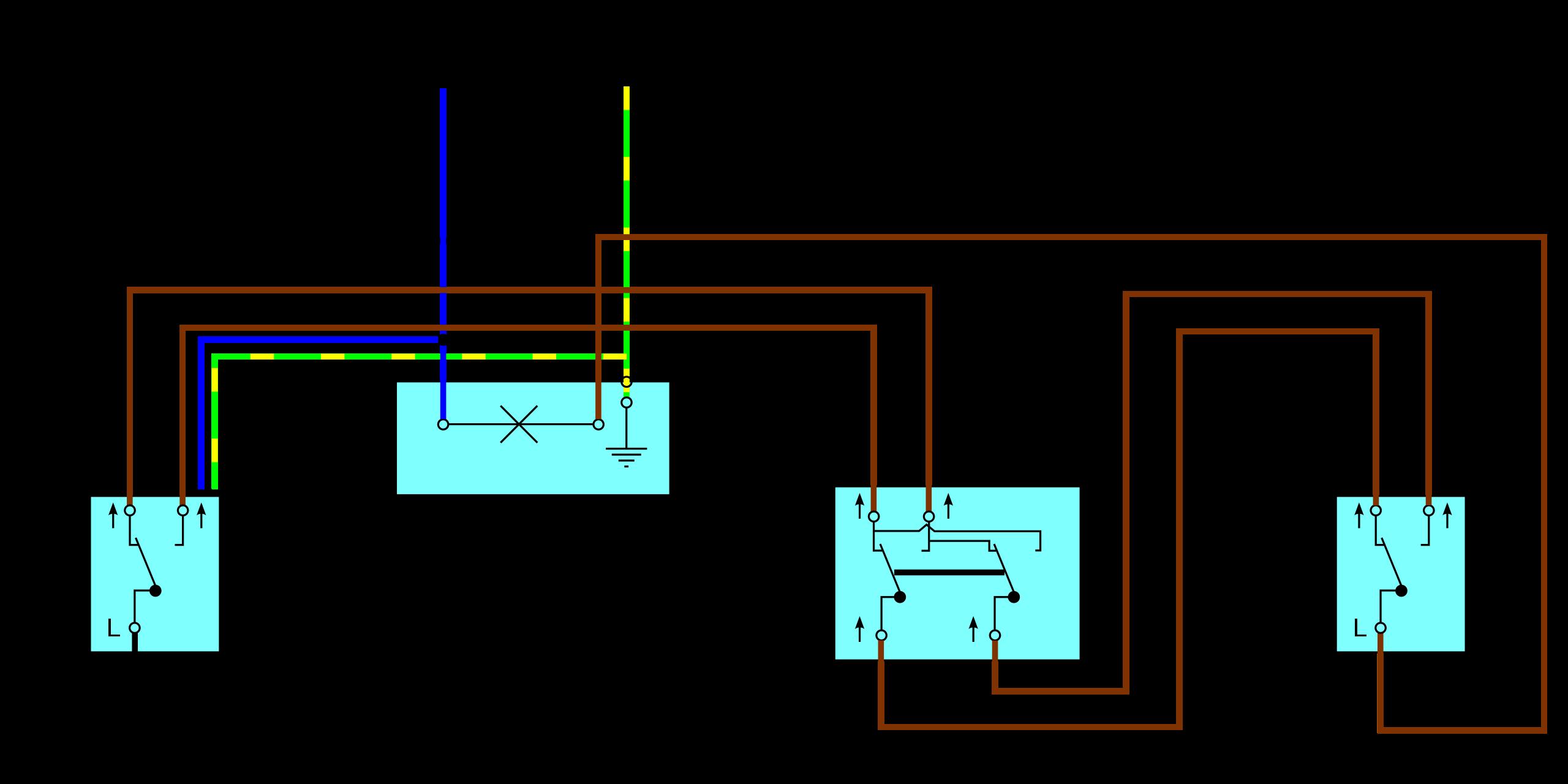 Kreuzschaltung Mit Drei Schaltern Elektroinstallation Haus Elektroinstallation Hauselektrik