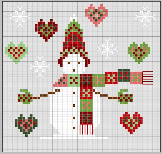 Snowman Charts (Different Color Schemes) | point de croix noel ...