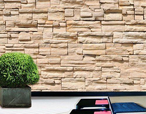 Steinwand steinmauer fototapete asian stonewall beige hellbraun wandbild steine wanddeko - Wanddeko steinwand ...