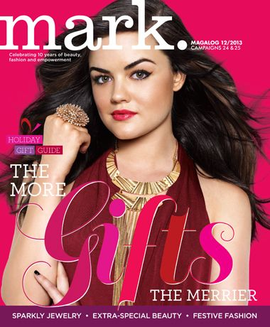 Avon mark Magalog 12 cover featuring #LucyHale in mark's Lady Luxe Necklace & Pop Star Ring! Order @ www.youravon.com/ericagerlemann! #jewelry