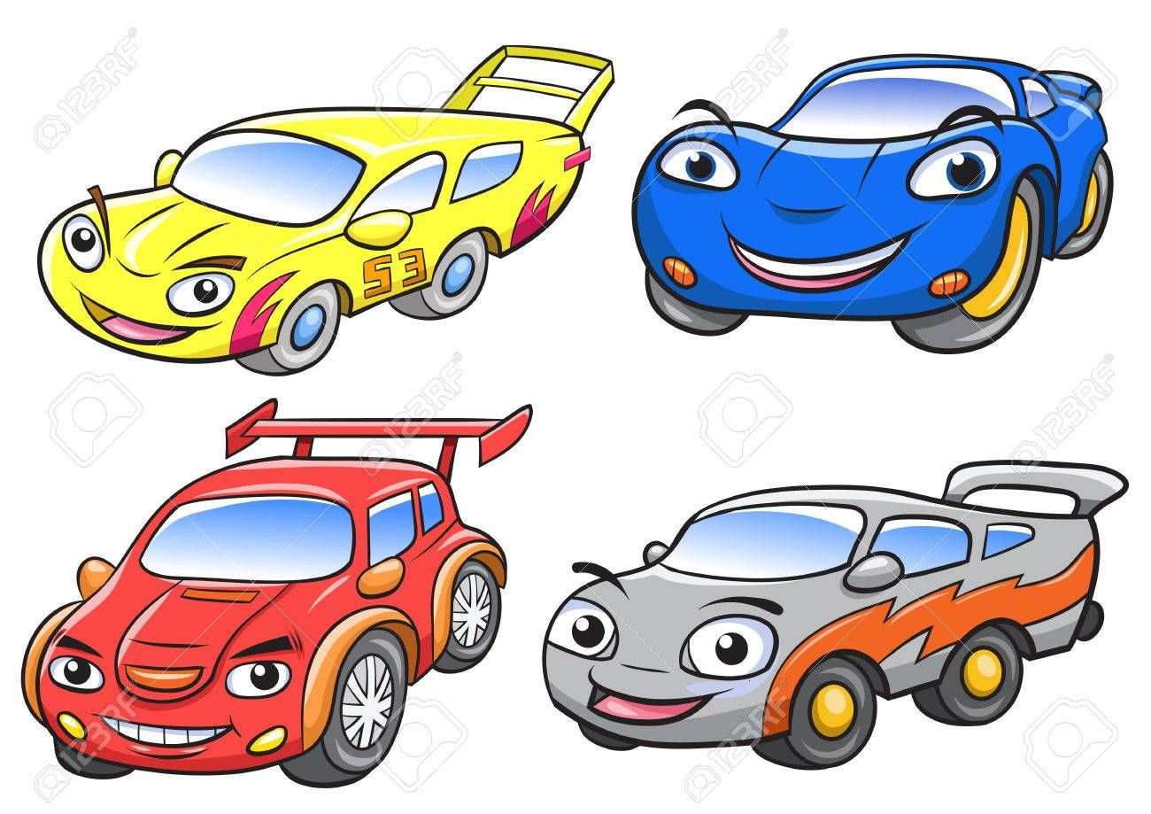 Vector Illustration Of Cute Cartoon Car Characters Eps10 File