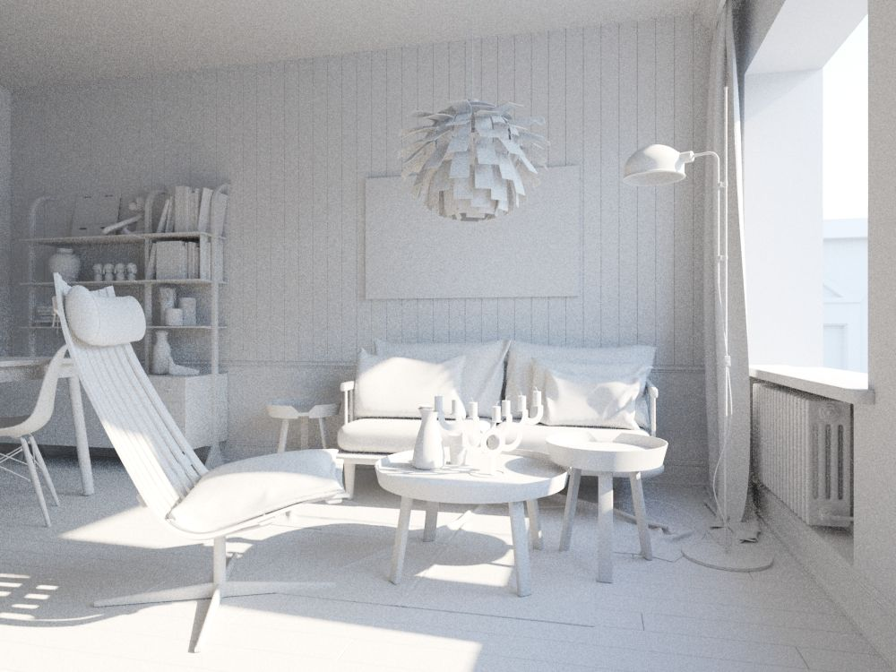 Making of small living room with corona render white heaven pinterest decoration for Conception salon 3d