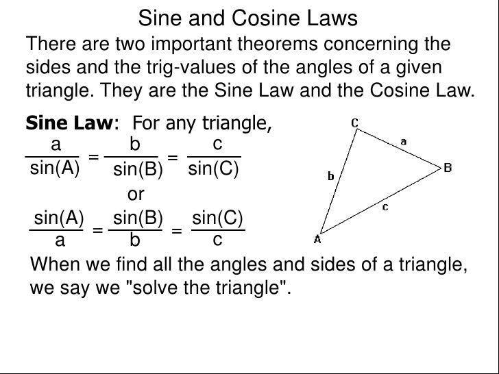 cosine law problems with solution pdf