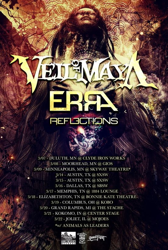 Erra Announce Tour With Veil Of Maya And Reflections Http Buff Ly 1jlztdy Metalcore Tours Music Bands