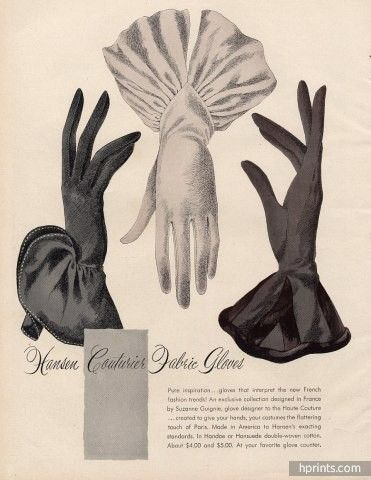 Hansen gloves ad from 1946. #vintage #gloves #1940s                                                                                                                                                                                 More