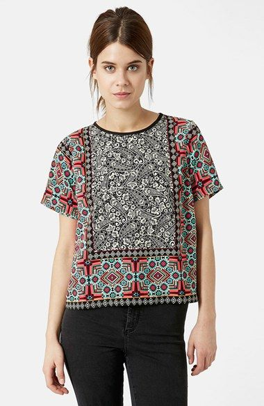 cf9429716b4bd5 The colors and patterns all work perfectly together. Complimenting and not  competing. Topshop Scarf Print Top