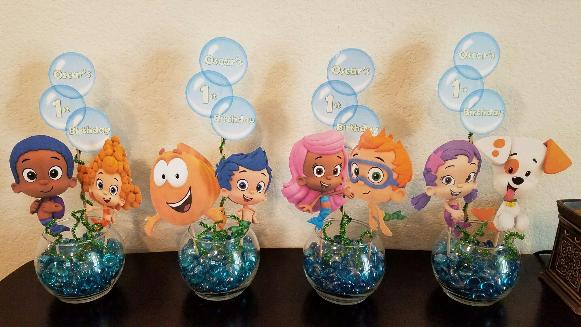 Diy Birthday Party Centerpieces Bubble Guppies 1st Birthday Decorations Bubble Birthday Bubble Guppies Party Bubble Guppies Birthday Party