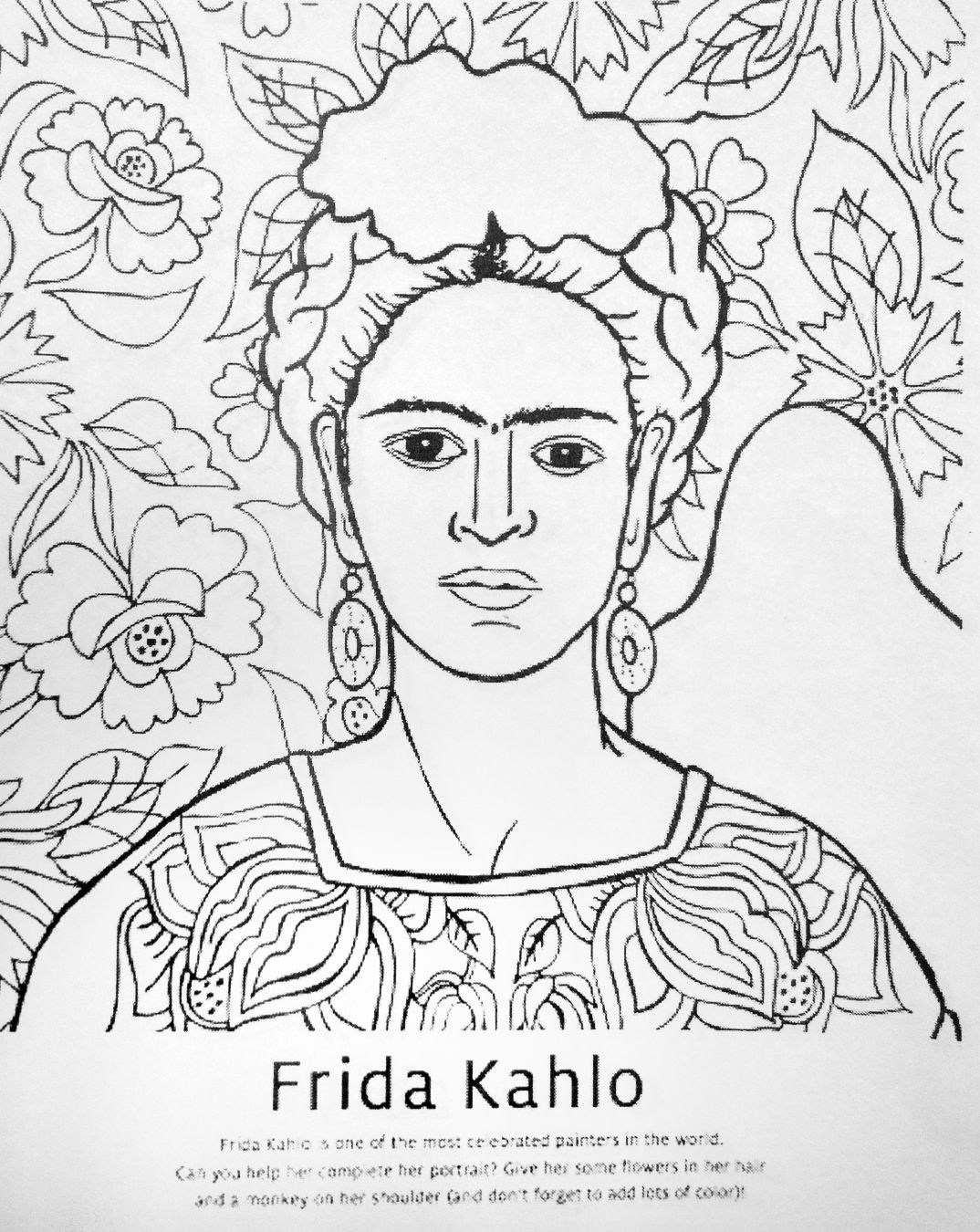 Worksheets Frida Kahlo Worksheets frida kahlo coloring apartment decor pinterest studio coloring