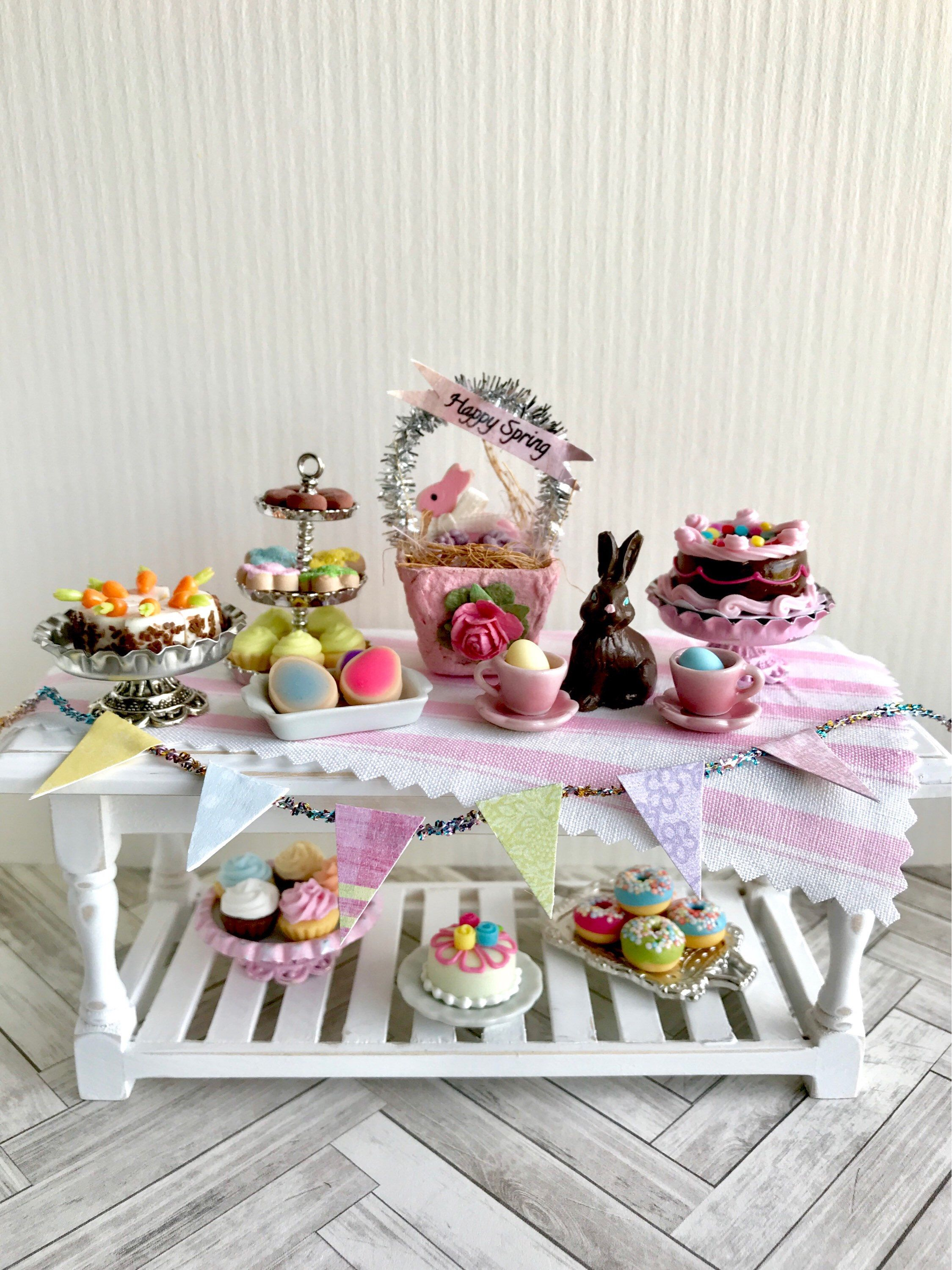 Miniature Easter table Easter dollhouse decorations