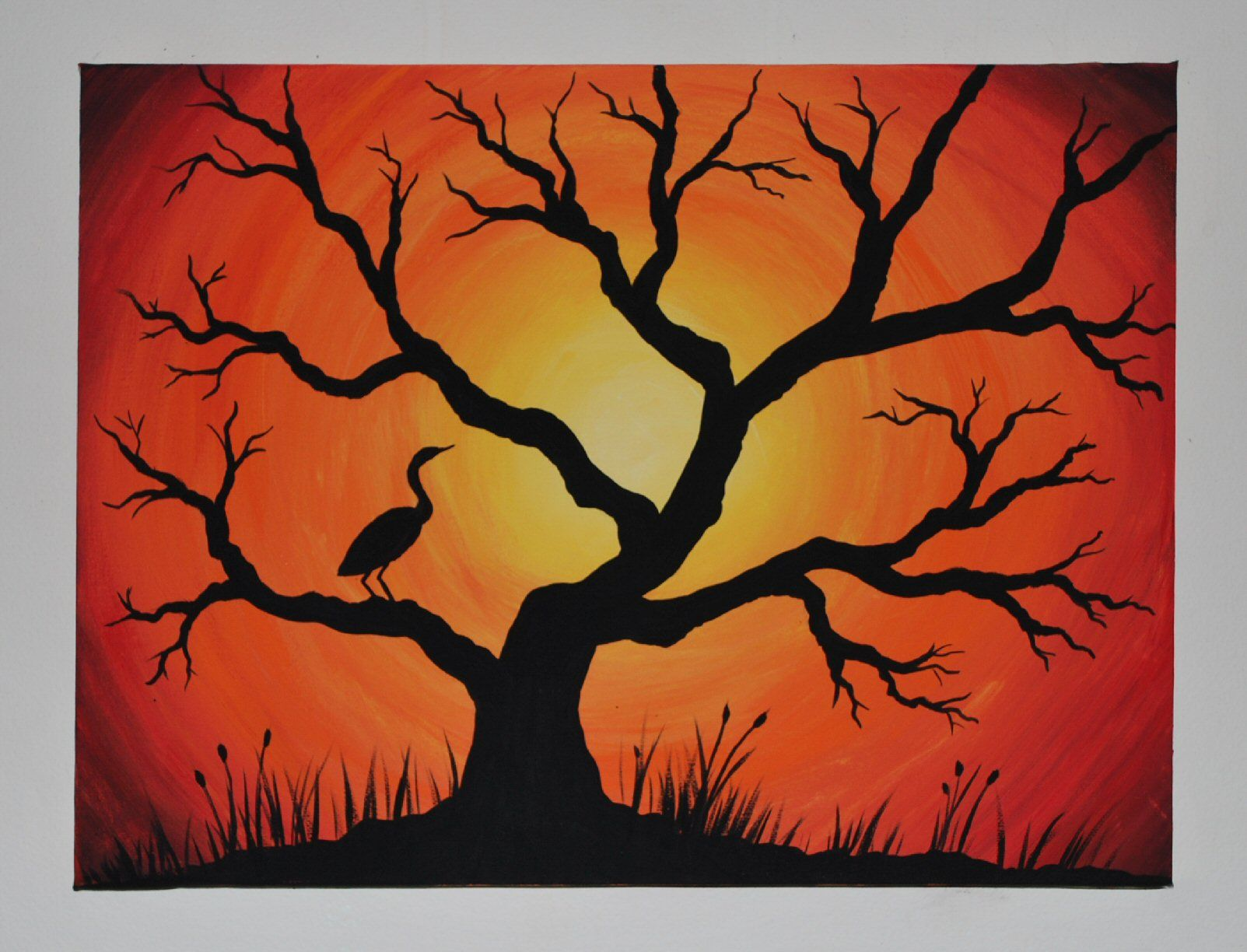 Simple tree paintings on canvas for Mural simple