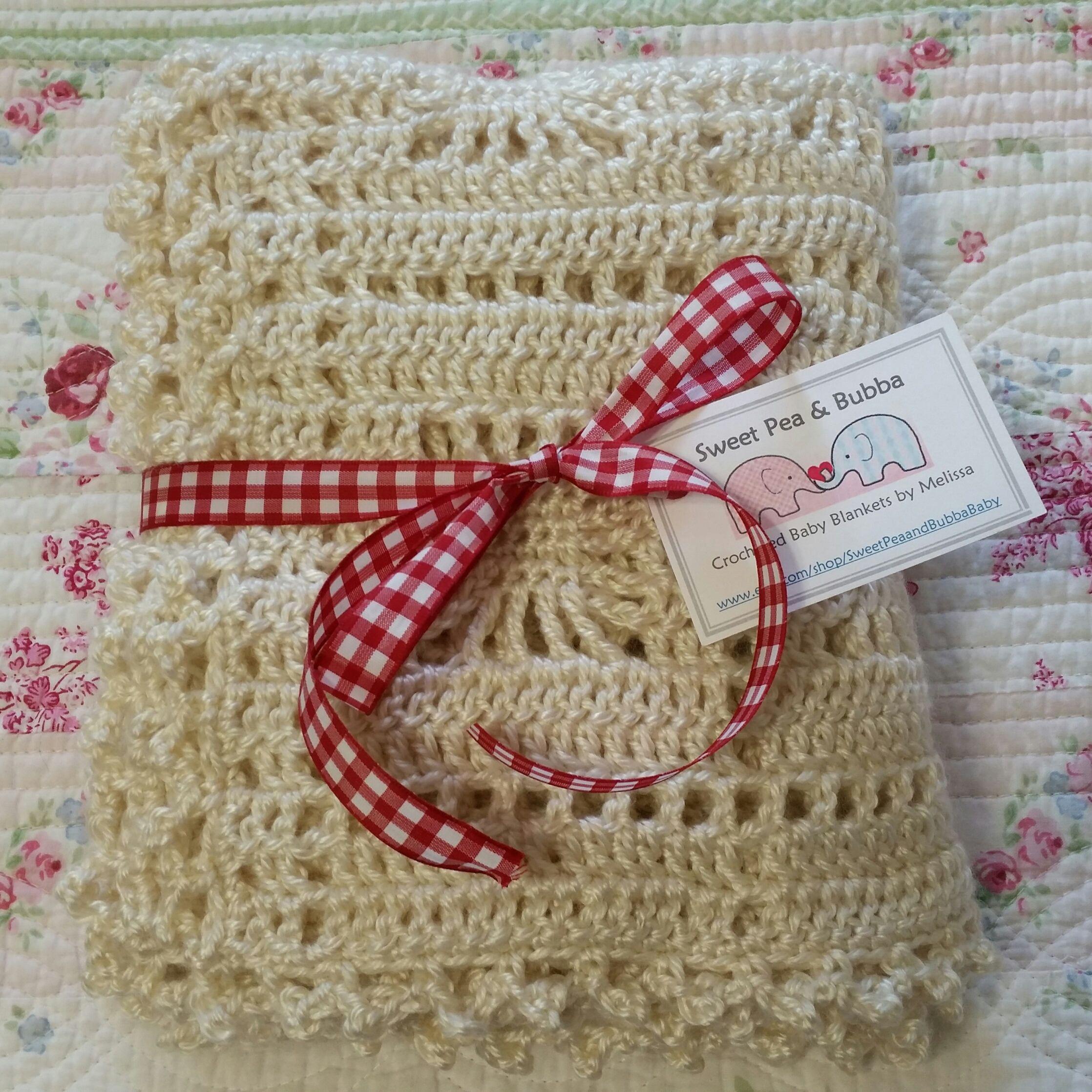 Crocheted snowflake baby blanket by sweetpeaandbubbababy