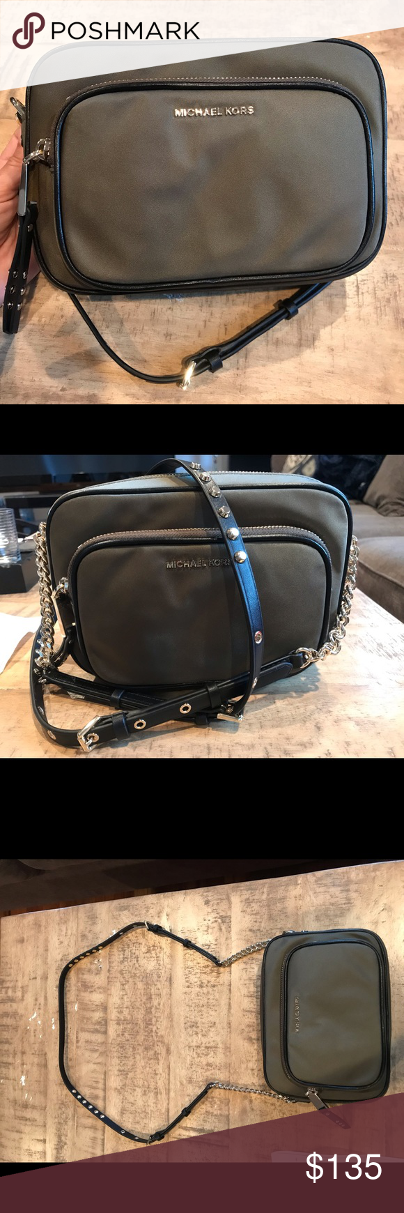 Michael Kors Camera Purse NWT - dark green NWT - Michael Kors - Dark Green color - Nylon material. Has front zipper pouch and card slots in larger zipper.  Gold Studded strap with short amount of gold chain as seen in the pics. bought it from Macys but wasn't my style when I saw it in person. Michael Kors Bags Crossbody Bags #camerapurse