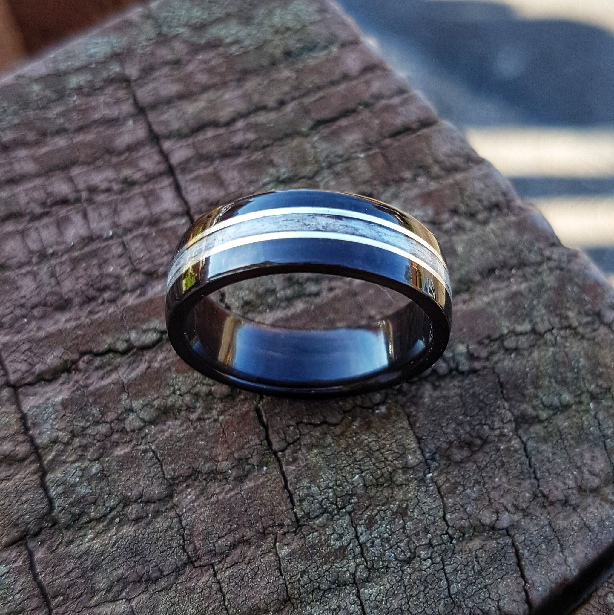 Ebony & Grey Maple Bentwood Ring with Stirling Silver