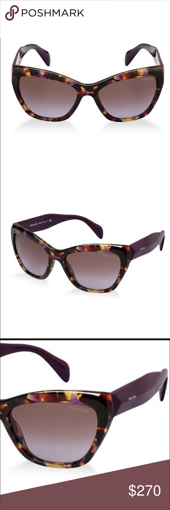 a245fd095014 Prada cat eye purple tortoise sunglasses Never worn, comes with original  case and cloth. Rare purple tortoise frames with purple arms. Prada 02QS.