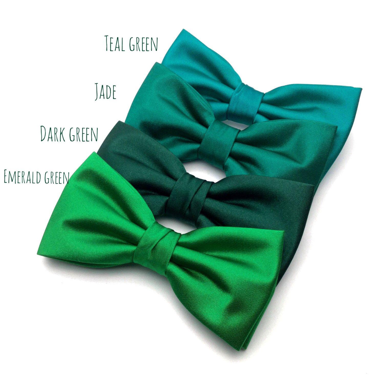 Wedding Bow Tie | Mens Satin Bow Tie | Solid Green Bow Tie ...