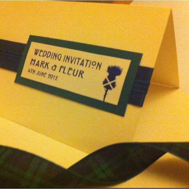 Black Watch Tartan Scottish Thistle Invitation. Handmade to order, all Tartans Available. MemoriesShop.co.uk <3