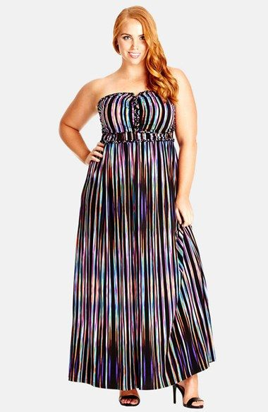 City Chic \'Colour Weave\' Strapless Maxi Dress (Plus Size ...