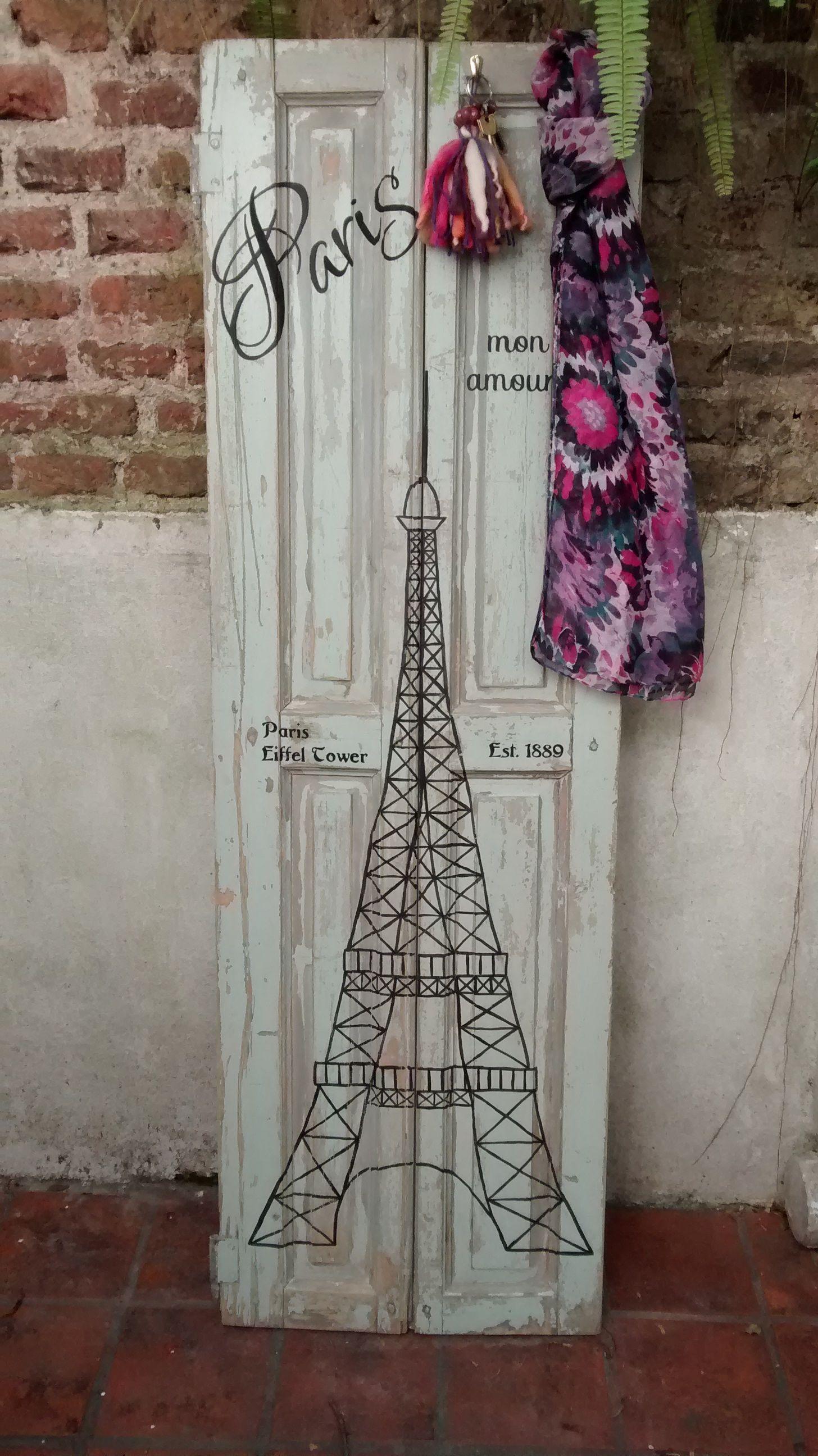 Postigo Intervenido Perchero Torre Eiffel Paris Coat Rack  # Muebles Postigo