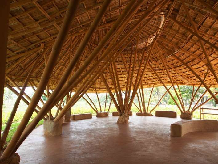 Building With Bamboo Roof Rammed Earth Floor And An Office With