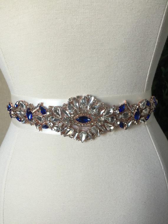 Gold and Royal Blue Rhinestone Wedding Belt