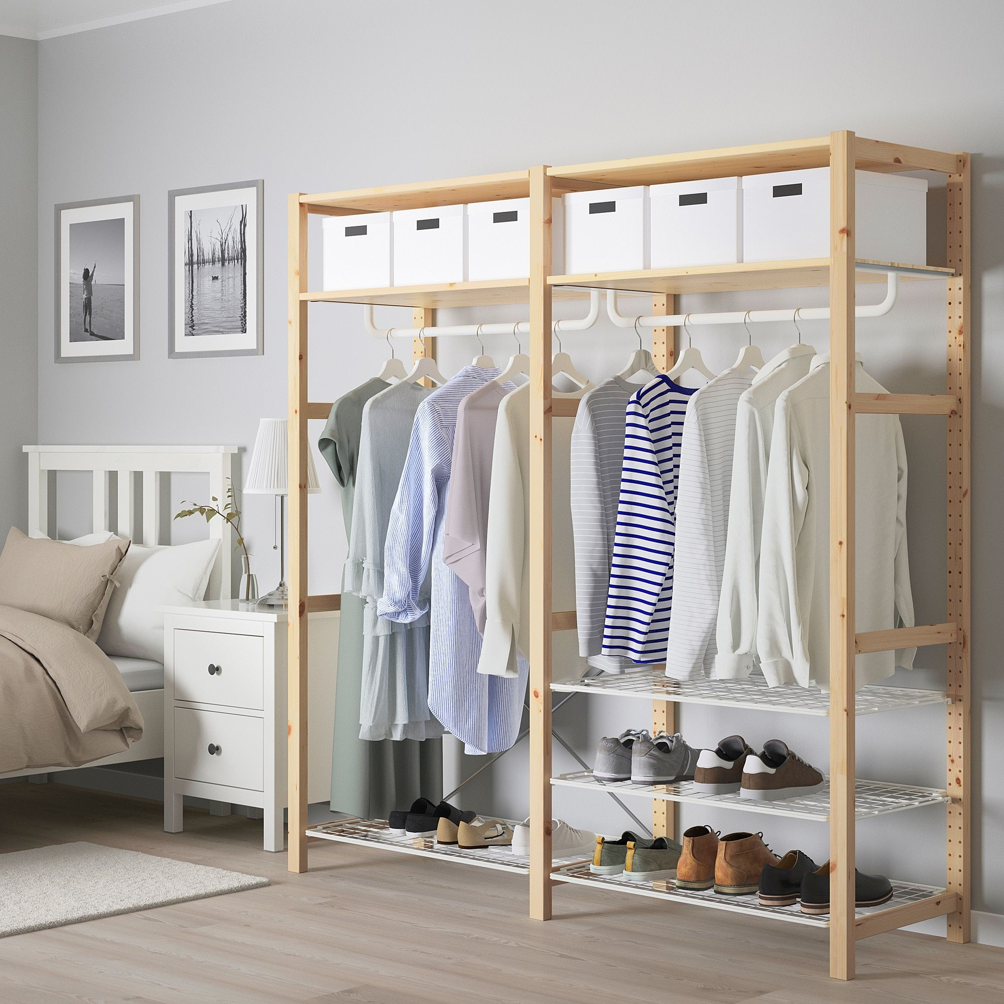 Ikea Ivar Shelving Unit With Shelves Rails Pine Untreated Solid Wood Is A Durable Natural Material Which Clothes Rail Clothes Rail Ikea Ikea Shelving Unit