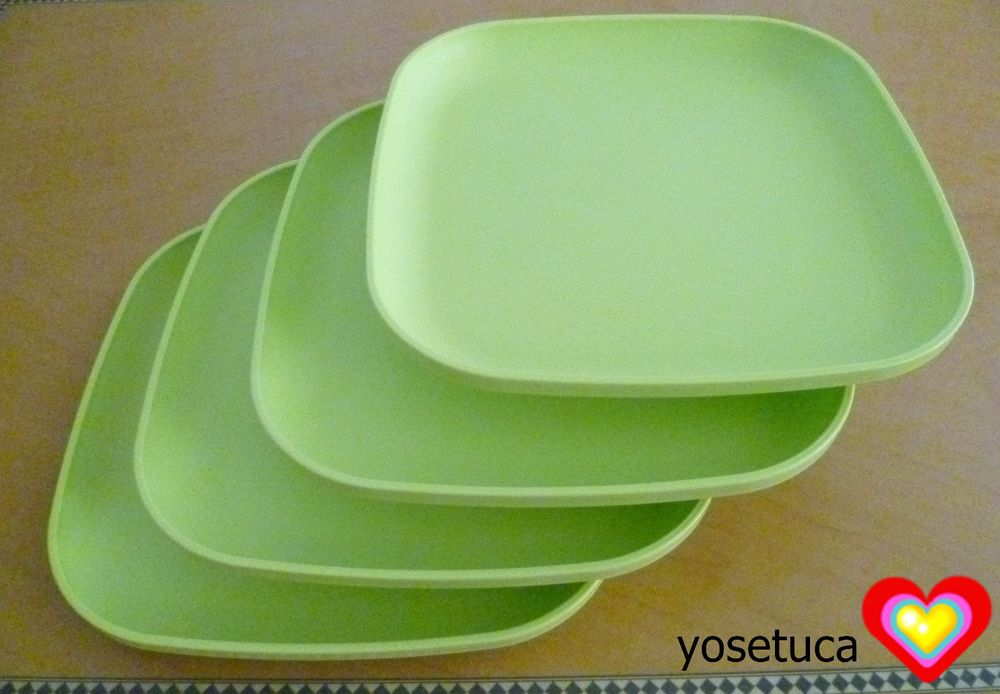 Tupperware Free Shipping New 4 Dishes Square Classic Plates Raised Edges # Tupperware & Tupperware Free Shipping New 4 Dishes Square Classic Plates Raised ...