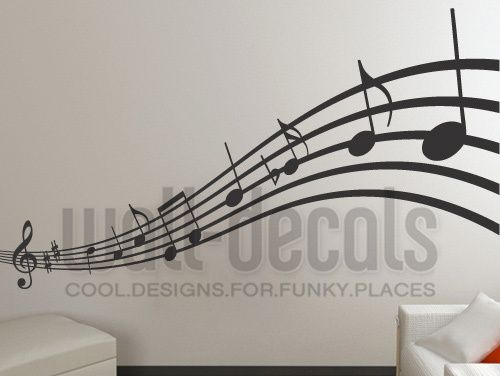 Tapeten - Wandtattoo Musik Noten Geschwungen Wandaufkleber - ein Designerstück…