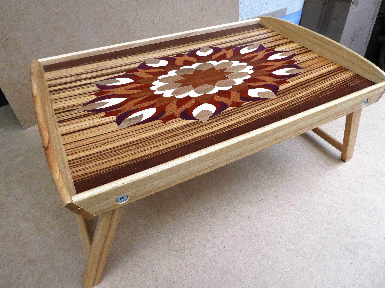 Plateau Decoratif Marqueterie Bois Sur Pieds Escamotables Etsy Coffee Table Decor Home Decor