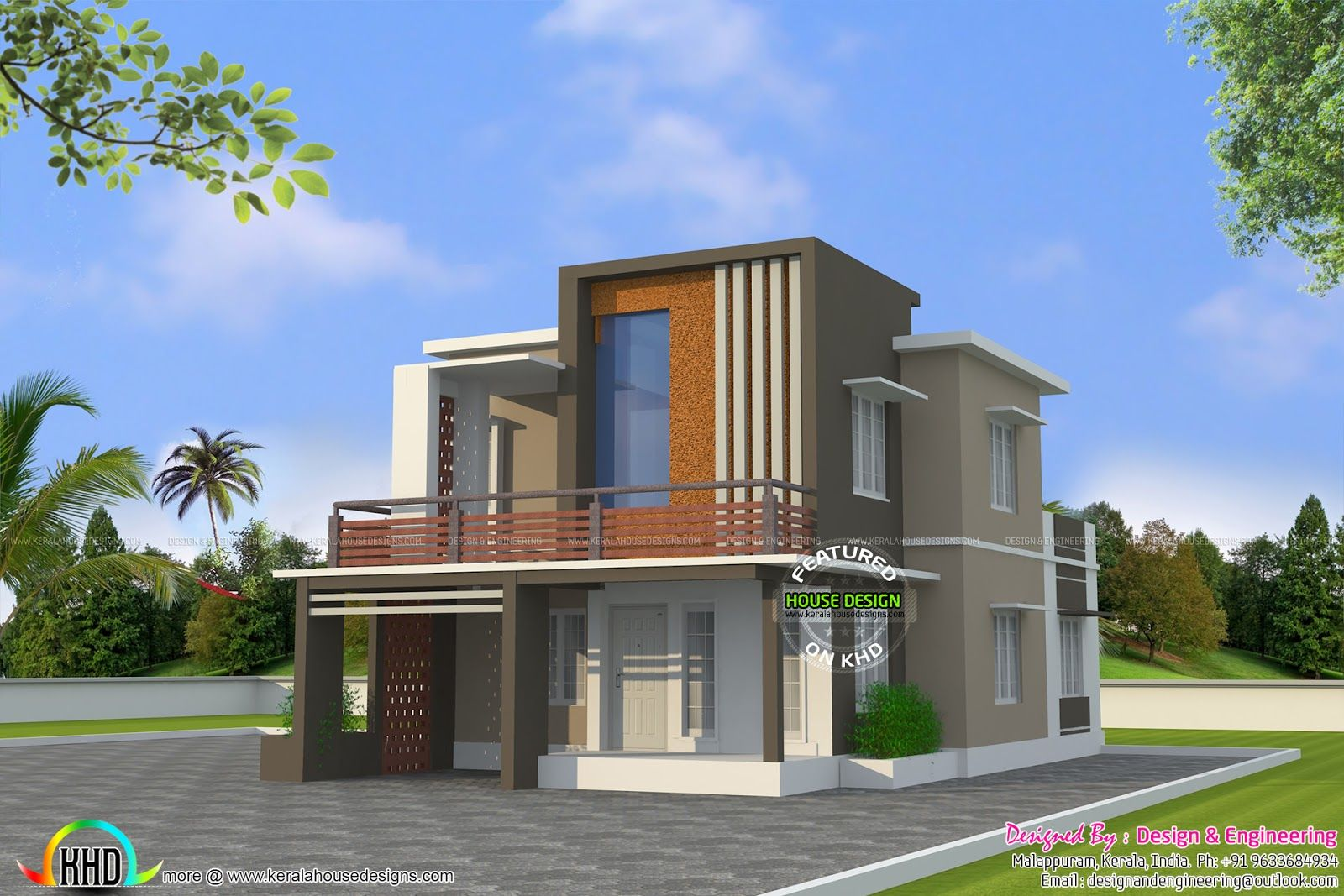 low cost double floor home plan kerala design and plans rear entry garage  house plansa flat