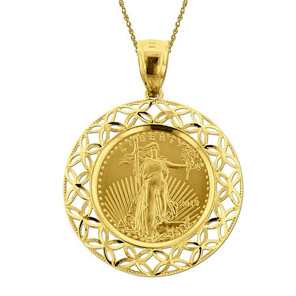 14k Yellow Gold 1 X2f 10 Oz Liberty Dollar Coin Pendant Necklace Jcpenney Coin Pendant Necklace Coin Pendant Yellow Gold Pendants