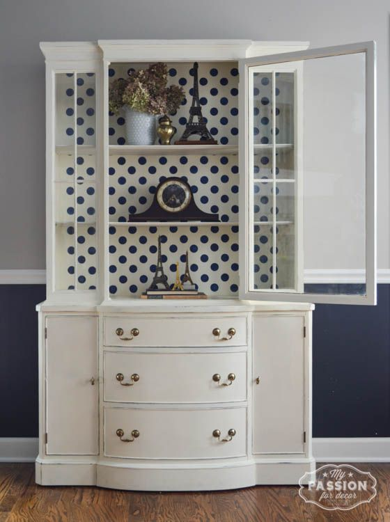 My Passion For Decor Vintage China Cabinet Makeover Off White Chalk PaintTM