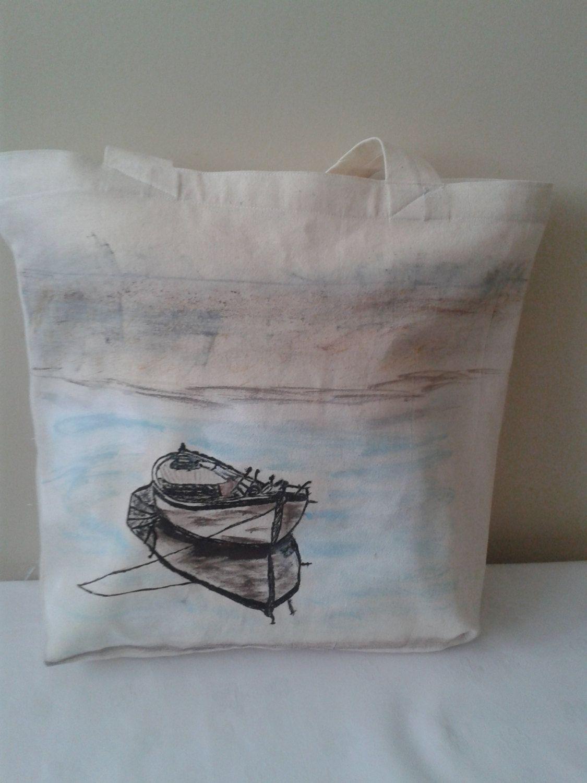 Beach Bag Large Tote Bag Eco Friendly Canvas BagHand painted Old Row Bag (18.00 USD) by HandmadebyNadya